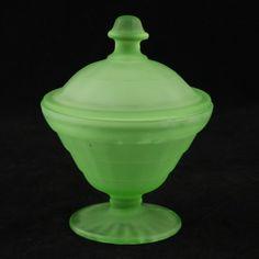Block Optic Satin Green Depression Glass Powder Jar Hocking Vintage