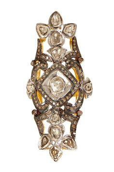 Sliced White & Champagne Diamond Ring