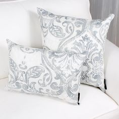 NAPLES cushion has a grey damask pattern on white linen background.