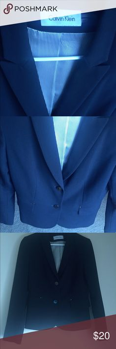 Dark blue Calvin Klein blazer Stylish and accentuates shape. Gently used Calvin Klein Jackets & Coats Blazers