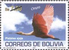 Filatelia: Aves de los Departamentos Bolivianos (2): Platalea ajaja