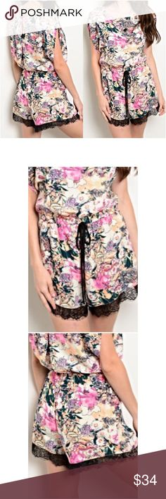 """Sweet & Sexy Floral Lace Romper SML Absolutely stunning mix of feminine & sexy floral lace hem romper. Super soft non see-thru polyester with ivory background pink, orange, green & black floral pattern. Love, love, love lace hem. Button back closure.  Elastic, stretchy waist with tie.   Small 2/4 Bust 32-34 Length 32"""" Medium 6/8 Bust 36-38 Length 33"""" Large 10/12 Bust 40"""" Length 34"""" Pants Jumpsuits & Rompers"""