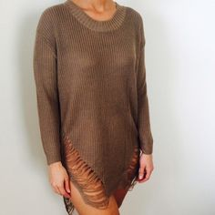 MOCHA SWEATER Trendy mocha sweater. New with tags, retail. Size medium true to size. NO TRADES OFFERS WELCOME Wildhart Sweaters Crew & Scoop Necks