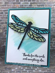 Stamping Up Dragonfly Dreams, Handmade Card, Thank You, Thanks Hand Stamped Cards, Butterfly Cards, Animal Cards, Card Kit, Cool Cards, Scrapbook Cards, Homemade Cards, Stampin Up Cards, Making Ideas