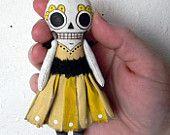 Skeleton Day of the Dead Sugar Skull Folk Art Ornament Doll-- Printed and Stuffed Cloth. $12.00, via Etsy.