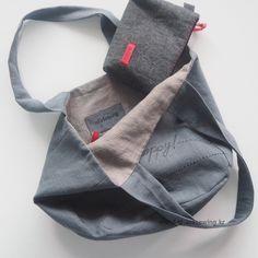 Two-sided Linen Shopper Bag - Best Neu ideen Bag Pattern Free, Bag Patterns To Sew, Sewing Patterns, Shopper Bag, Tote Bag, Zipper Pouch Tutorial, Craft Bags, Linen Bag, Free Sewing