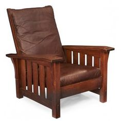 "Gustav Stickley Bent-arm Morris Chair, #369 33""w X"