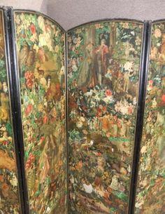 decoupage room divider | Victorian dressing screen
