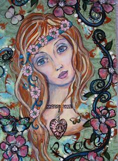 Hippie Girl. I don't know who created this beautiful art.  It inspires me to add…