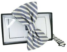 Grey/White Striped Silk Bow Tie by David Van Hagen - Tied David Van Hagen,http://www.amazon.com/dp/B00ISVFCC4/ref=cm_sw_r_pi_dp_kXWEtb0B0TVDQRB8