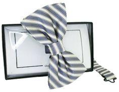 Grey/White Striped Silk Bow Tie by David Van Hagen - Tied David Van Hagen,http://www.amazon.com/dp/B00ISVFCC4/ref=cm_sw_r_pi_dp_kXWEtb0B0TVDQRB8
