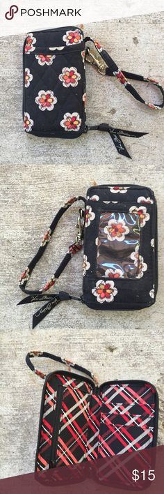"""VERA BRADLEY Wristlet All in One Pirouette EUC Vera Bradley All In One Wristlet.  Measures 3"""" x 5.25"""" x .75"""" with a 6 inch strap. You can keep money credit cards or your phone in this little all-in-one bag Vera Bradley Bags Clutches & Wristlets"""
