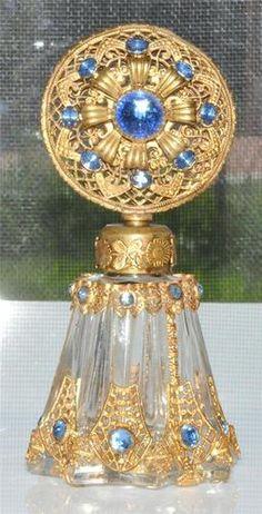 Antique Czech Filigree Perfume Bottle