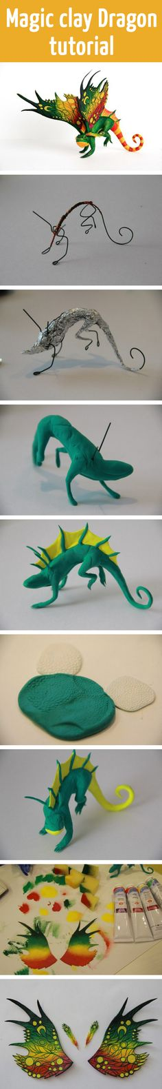 Magic clay Dragon tutorial could also use with felting Polymer Clay Dragon, Fimo Clay, Polymer Clay Projects, Polymer Clay Creations, Polymer Clay Art, Polymer Clay Sculptures, Sculpture Clay, Ceramic Sculptures, Crea Fimo