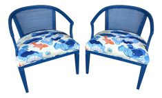 Chinoiserie Blue Caned Side Chairs - a Pair Side Chairs, Dining Chairs, Koi Fish Designs, Vintage Chairs, Upcycled Furniture, Chinoiserie, High Gloss, Originals, 1960s