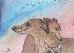 Greyhound whippet dog orig ACEO lurcher gazehound cat photobomb by Susan Alison