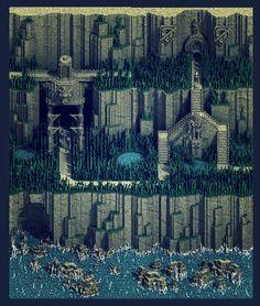 Latica Cliffs - Voxel art on Behance