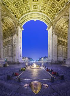 """Arch of Triumph, Tomb of the unknown soldier, Paris, France. The Arc de Triomphe ~""""Triumphal Arch"""" in Paris honors those who fought and died for France. At this site there burns an eternal flame in me Places Around The World, Oh The Places You'll Go, Places To Travel, Places To Visit, Around The Worlds, Paris Travel, France Travel, Monaco, Belle France"""