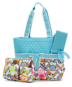 AQUA Monogrammed Quilted 3 Piece Chevron Owl Embroidered Diaper Bag Great Shower Gift Idea Peraonalized Boy Girl PERSONALIZED on Etsy, $30.00