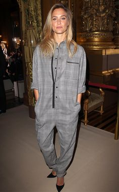 Bar Refaeli from Stars at Paris Fashion Week Spring 2015  The supermodel slips into a loose tweed-print jumpsuit at the Stella McCartney show.