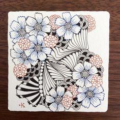ペンでゼンタングル(青系花の予定 - tanglefan