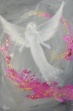 Limited angel art poster, modern contemporary angel painting, artwork, print, glossy photo,.. Pink & Grey Angel