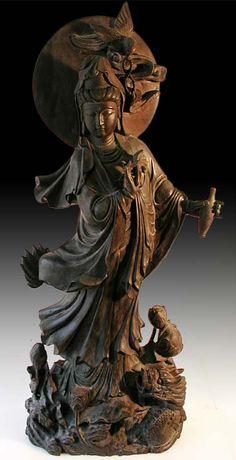 Old Chinese Water-Moon Kuanyin Buddha Statue