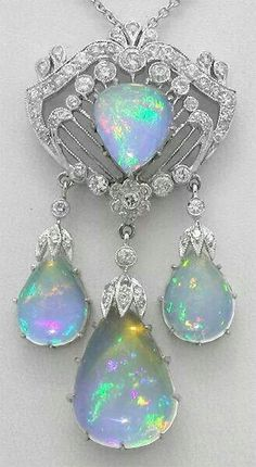 Diamond, opal and platinum brooch