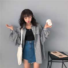 Korean Casual Outfits, Korean Outfit Street Styles, Cute Casual Outfits, Summer Outfits Korean, Asian Street Style, Flannel Outfits, Asian Style, Men Casual, Kawaii Fashion