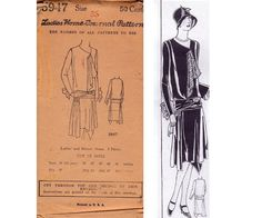 RARE 1920s Flapper Dress Pattern Handkerchief Hem Dropped Waist Sash Trim Ladies Home Journal 5947 Bust 36 inches UNUSED Factory Folded