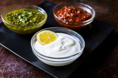 3 Moroccan Dipping Sauce Recipes: Mint-Cilantro, Harissa, and Yogurt-Lemon. Morrocan Food, Moroccan Dishes, Sauce Recipes, Cooking Recipes, Moroccan Chicken, Yogurt Sauce, Lemon Sauce, Middle Eastern Recipes, Healthy Snacks For Kids