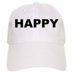 White baseball cap with the word Happy. Happiness is one of the things that all humans seek and wish to sustain. The good news is it doesn't take much to maintain it; just positive thoughts, change of lifestyle and will power. Available in white or khaki for only $19.99. Go to the link to purchase the product and to see other options – http://www.cafepress.com/stsfadfl