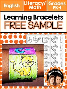 FREE learning bracelets for numbers, colors, shapes and phonics skills. Great for beginner readers & writers!