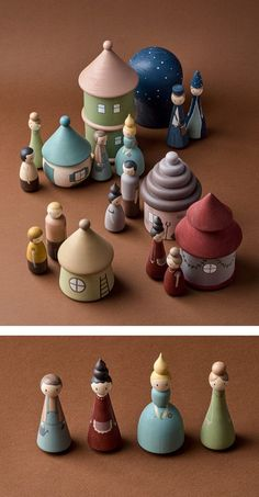 Wooden fairy village Peg dolls & houses by HappyTreeStore. Montessori toys Woodland nursery decor Educational Eco-friendly Toys for baby. Montessori wooden toys. Wood toys for kids activity. Just look at this stunning Fairy Village. Every peg doll and house is hand-carved and carefully hand-painted by ourselves using water based paints. #babygift #education