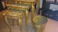 Vintage Set of 3 Italian Hollywood Regency Gold Resin Nesting Tables & Basket #HollywoodRegency