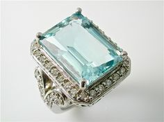 14 Carat Aquamarine and Diamond Vintage-Style Ring