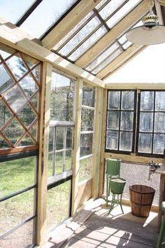 greenhouse made of salvaged windows.