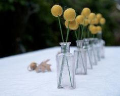 Craspedia Wedding Decorations, Wedding Table Flowers, Bright Yellow Felt Flowers, Country Rustic Bride Woodland Wedding. $50.00, via Etsy.