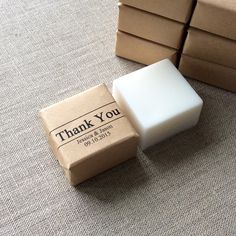 50 Personalized Mini Thank You Soap Favors.These adorable mini soaps make great wedding favors. They are made to order to maintain freshness. High grade essential oils are added for their healing properties and white kaolin clay for gently absorb impurities from skin. For sensitive skin, our Unscented soap would be a great option since essential oils and white clay are not added.Soap wrappers are printed with wording and cut by hand into squares, then wrapped individually wi...