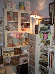 Craft room---Love the paper doll clothes.