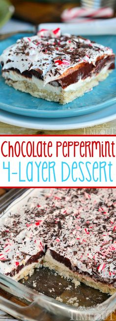 My Grandma's 4 Layer Dessert all dressed up for Christmas! You're going to love the all the yummy layers in this Chocolate Peppermint 4 Layer Dessert! A wonderfully delicious EASY dessert that is perfect for the holiday season and Christmas! by audra Mini Desserts, Layered Desserts, Holiday Desserts, Holiday Baking, Chocolate Desserts, Christmas Baking, Easy Desserts, Holiday Recipes, Delicious Desserts