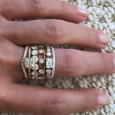 Will a day ever come that a good stack doesn't my make ❤️ flutter?  Hope not! #jadetrau #jadetraubridal #jadetraucustom #stackemup #ringstack #vintageinspired #marthastewartweddings #realisrare #made_in_ny