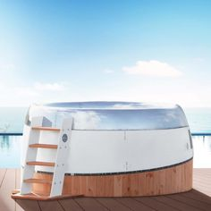 Enjoy the most exclusive feeling when taking a bath in this one-of-its-kind hot tub built into the inlet cowling of a jet engine. Aviation Furniture, Aviation Decor, Automotive Furniture, Automotive Art, Engine Table, Window Bars, Battery Lamp, Red Walls, Outdoor Furniture