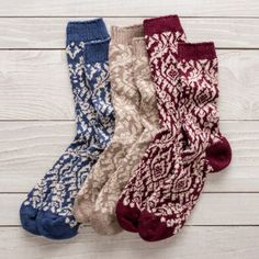 Merino wool, cashmere and angora combine to swaddle feet in sublime softness and consummate comfort. Knit from Italian yarns in a small Pennsylvania factory with three generations of expertise, these socks boast warmth without itch and a pattern worth sho