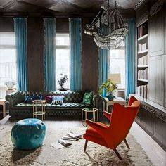 Library nook with eclectic accessories   New York brownstone   House tour   housetohome.co.uk