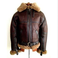 MEN'S AVIATOR RAF B3 SHEEPSKIN FUR LEATHER BOMBER FLYING JACKET Product Details: Material : Real Leather Original Shearling Fur Color: Brown Front: Full Zip Closure Pockets: Two Pockets on Waist