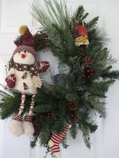 CHRISTMAS Snowman Grapevine wreath