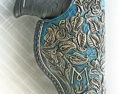 Holsters hand tooled leather, gun belts, western rigs by yWiseChoiceOgain 1911 Holster, Gun Holster, Leather Carving, Leather Tooling, Tooled Leather, Custom Leather Holsters, Western Holsters, Used Saddles, Leather Projects