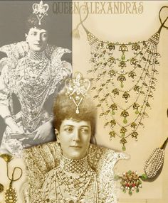 India Diamond Emerald Necklace of Queen Alexandra  Queen Alexandra, at the Duchess of Devonshire's costume ball, is wearing another wedding present.  In 1863, she received from Queen Victoria this suite of Indian ornaments, comprising a collar, armlet and two bracelets, made from uncut emeralds, diamonds and pearls. The seven-row collar of pearl and emerald beads was hung with a multitude of pearl drops and diamond pendants, which were enamelled on the back.ROYAL MAGAZIN