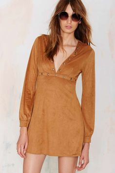 Jacqueline Plunging Dress - Tan   Shop Clothes at Nasty Gal!